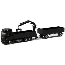 Herpa Exclusive BM943932 Mercedes Benz Actros BigSpace, plattform HZ med lastkran, svart