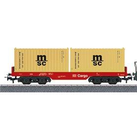 """Märklin 00190 Flakvagn 4566 6 119-4 typ DB Cargo med last av 2 st 20 fots container """"msc"""""""