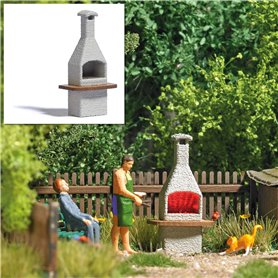Busch 5403 Chimney stone BBQ with glowing fire