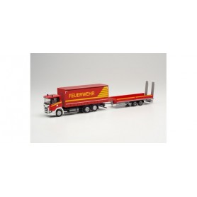 Herpa 313926 Scania CG 17 curtain canvas truck with lowbed trailer with ramps 'Fire Department'