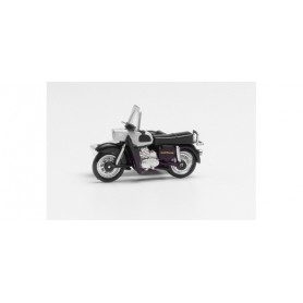 Herpa 053433-006 MZ 25 with matching sidecar, silver|black