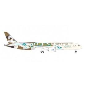 """Herpa Wings 535748 Flygplan Etihad Airways Boeing 787-9 Dreamliner """"Choose Saudi Arabia"""" – A6-BLN"""