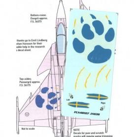 """FCA 48-107 Dekalark för flygplan, JAS39 Gripen Special """"Paw"""" Marking"""