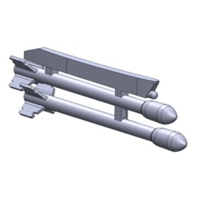 Maestro Models K4930 15 cm rocket m/51 for Tunnan, 6 pairs + 2 single. On pylons. 3D print