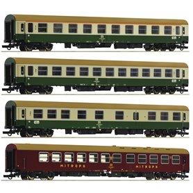 """Roco 74189 4 piece set: Passenger coaches D 375 """"Vindobona"""", DR (Set 2)"""