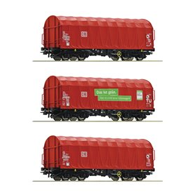 Roco 76011 3 piece set sliding tarpaulin wagons, DB AG