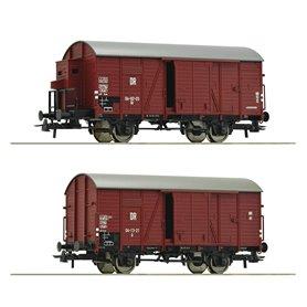 Roco 76012 Set of two covered goods wagons type Gr of the Deutsche Reichsbahn