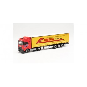 """Herpa 314527 Iveco S-Way LNG curtainsider semitrailer truck """"Omega Pilzno"""" (Polen