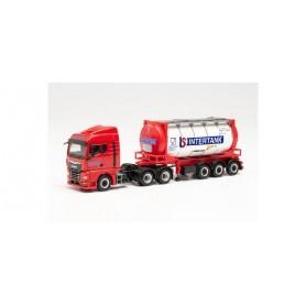 "Herpa 314541 MAN TGX GM swap container semitrailer truck ""Intertank"" (DK) (Denmark|Fredericia)"