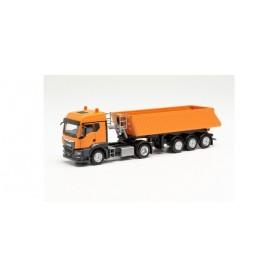 Herpa 314589 MAN TGS TM Schmitz tipper semitrailer tractor, municipal orange