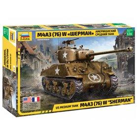 "Zvezda 3676 Tanks US medium tank M4A3 (76) W ""SHERMAN"""