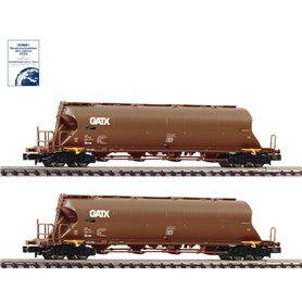 Fleischmann 849008 2 piece set dust silo wagons, GATX