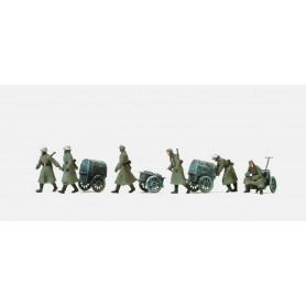 Preiser 16592 Figurer Infanterister, 4 infantry vagnar lf 8, Tyska Riket 1939-45, 6 omålade figurer