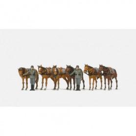Preiser 16597 Figurer Soldater och hästar, 2 omålade figurer, 6 omålade hästar.