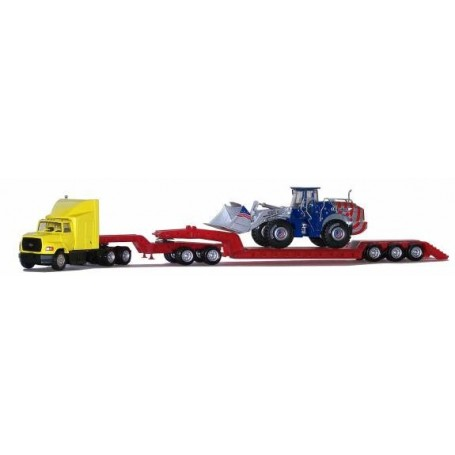 Promotex 6375 Ford L-9000, Red Heavy Equipment TRLR And Jeep