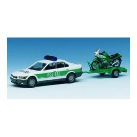 """Herpa 042482 BMW 325i """"Polizei"""" + släp med motorcykel"""