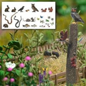 Busch 1153 Sats med massor av smådjur, kaniner, ekorrar, ormar, fiskar, ugglor m.m.
