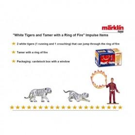 """Märklin 00790.02 Figurer """"White Tigers and Tamer with a Ring of Fire"""" för utbyggnad av Cirkus Mondolino"""