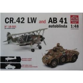 Supermodel 10501 Flygplan CR.42 LW och AB 41 Autoblinda