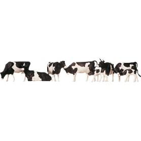 Faller 155508 Kreatur, kossor, svart/vita, 8 st