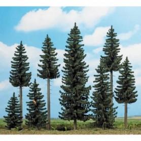 Busch 6391 Tallskog med 8 st tallar, höjd ca 70-195 mm, små skogsdjur m.m.
