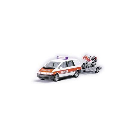 "Herpa 043373 VW Sharan ""BRK Mobile Wache"" + Motorcykel på släp"